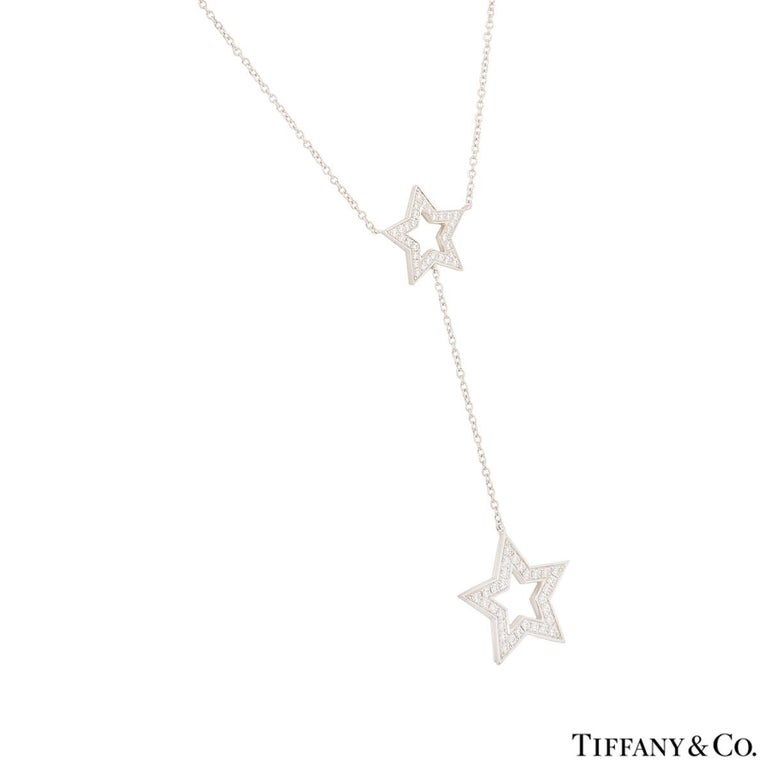 Tiffany & Co. Platinum Diamond Set Star Necklace .53 Carat In Excellent Condition For Sale In London, GB