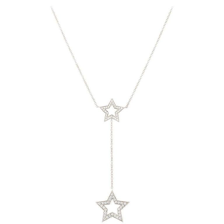 Tiffany & Co. Platinum Diamond Set Star Necklace .53 Carat For Sale