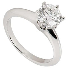 Tiffany & Co. Platinum Diamond Setting Solitaire Ring 1.31 Carat H/VS1