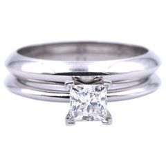 Tiffany & Co. Platinum Diamond Solitaire Engagement Ring Set