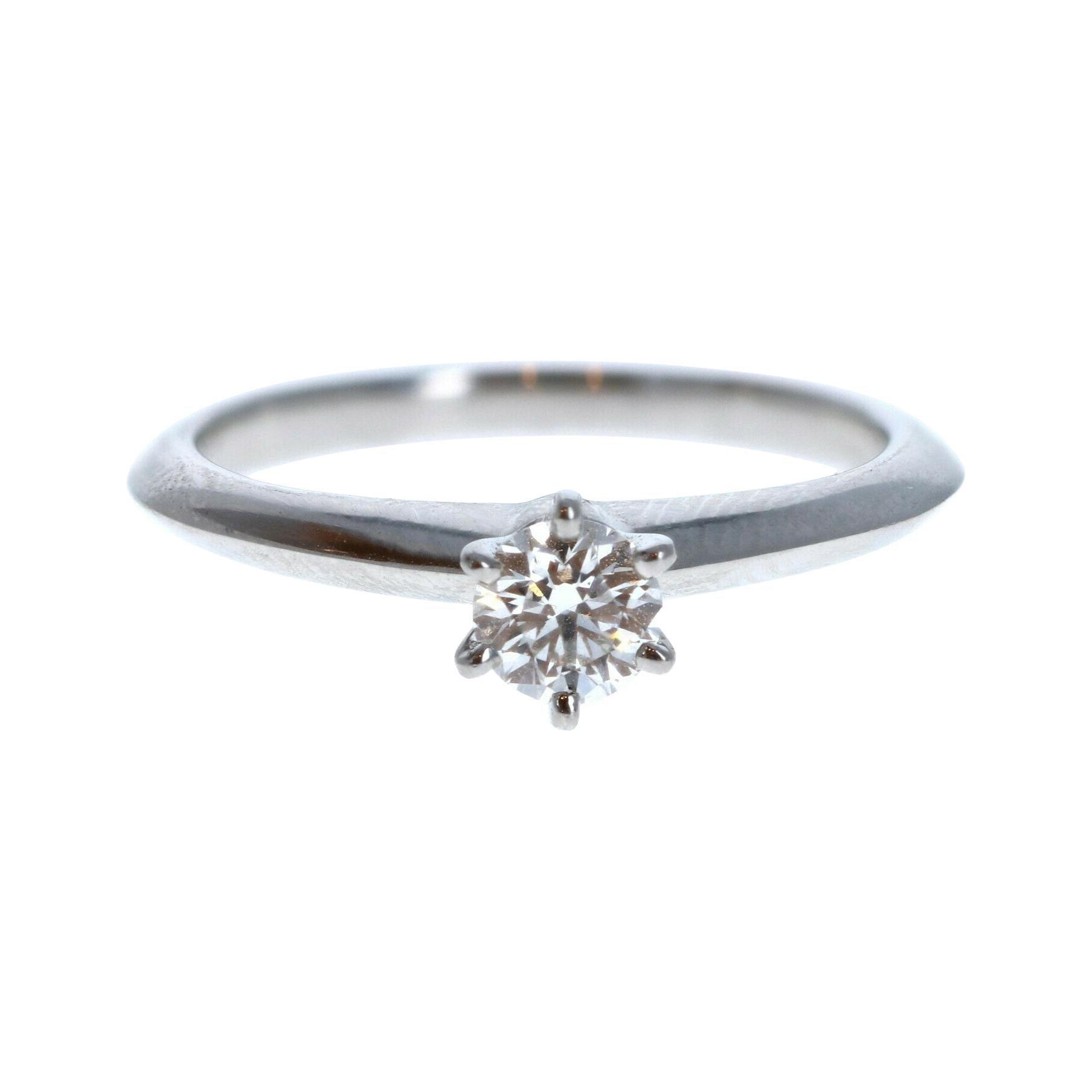 Tiffany & Co. Platinum & Diamond Solitaire Ring 0.26ctw