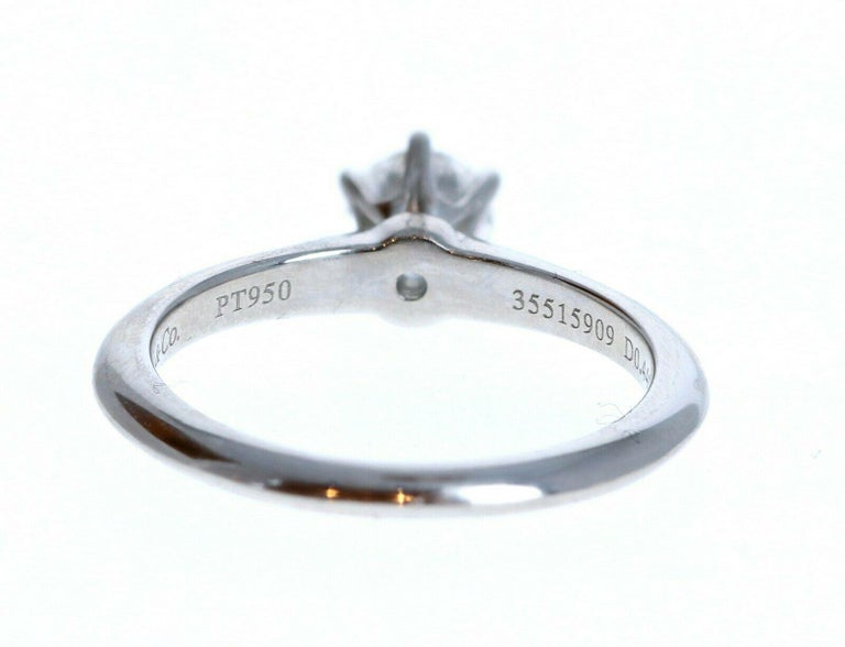 Round Cut Tiffany & Co. Platinum & Diamond Solitaire Ring 0.44ctw For Sale