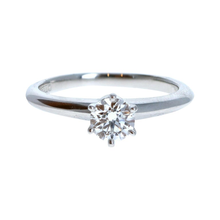 Tiffany & Co. Platinum & Diamond Solitaire Ring 0.44ctw For Sale