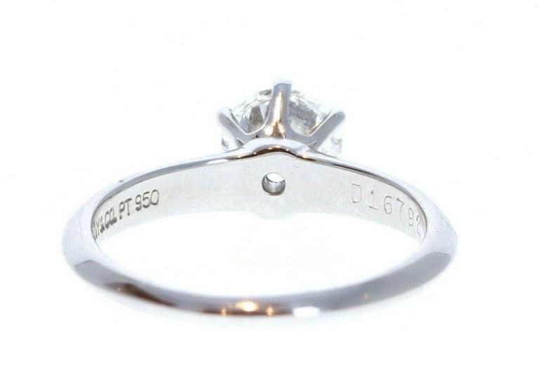 Round Cut Tiffany & Co. Platinum & Diamond Solitaire Ring 0.71ctw H VVS For Sale