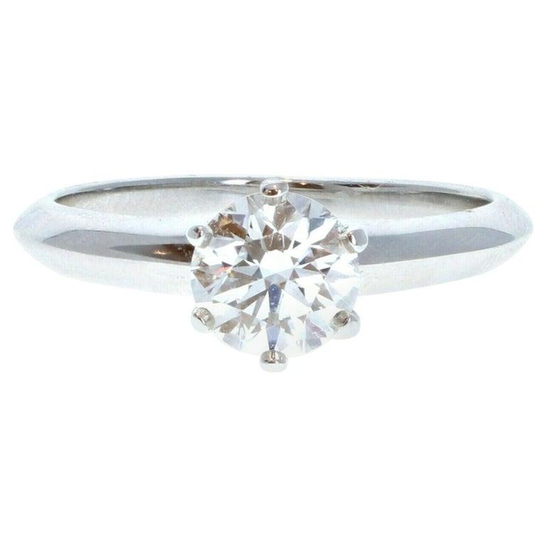 Tiffany & Co. Platinum & Diamond Solitaire Ring 0.71ctw H VVS For Sale