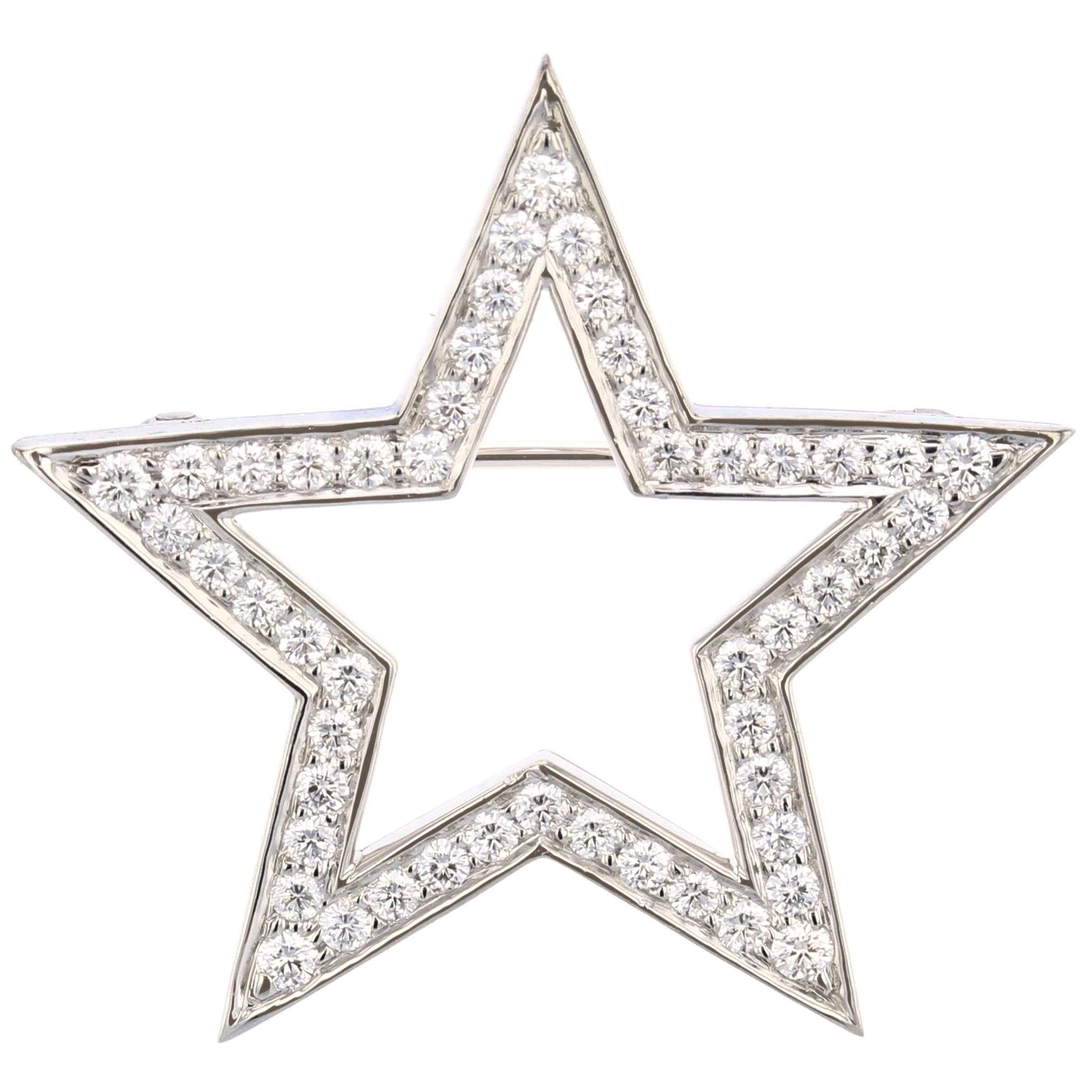 Tiffany & Co. Platinum Diamond Star Brooch