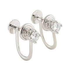 Tiffany & Co. Platinum Diamond Stud Earrings .66 Carat F Color