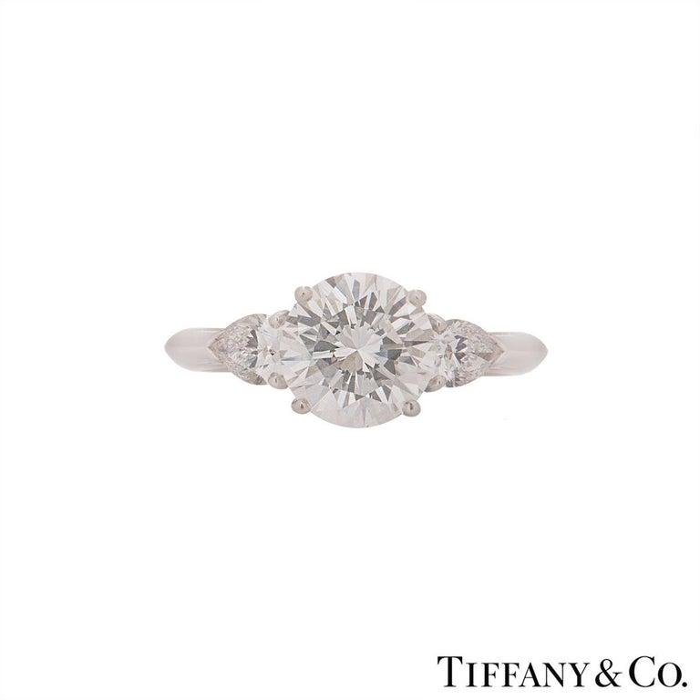 Round Cut Tiffany & Co. Platinum Diamond Three-Stone Ring 2.36 Carat GIA Certified