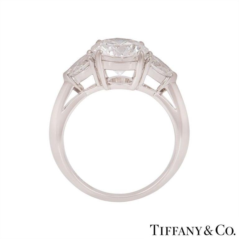 Women's Tiffany & Co. Platinum Diamond Three-Stone Ring 2.36 Carat GIA Certified