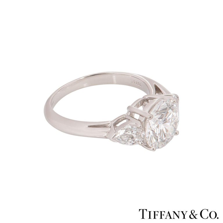 Tiffany & Co. Platinum Diamond Three-Stone Ring 2.36 Carat GIA Certified 1