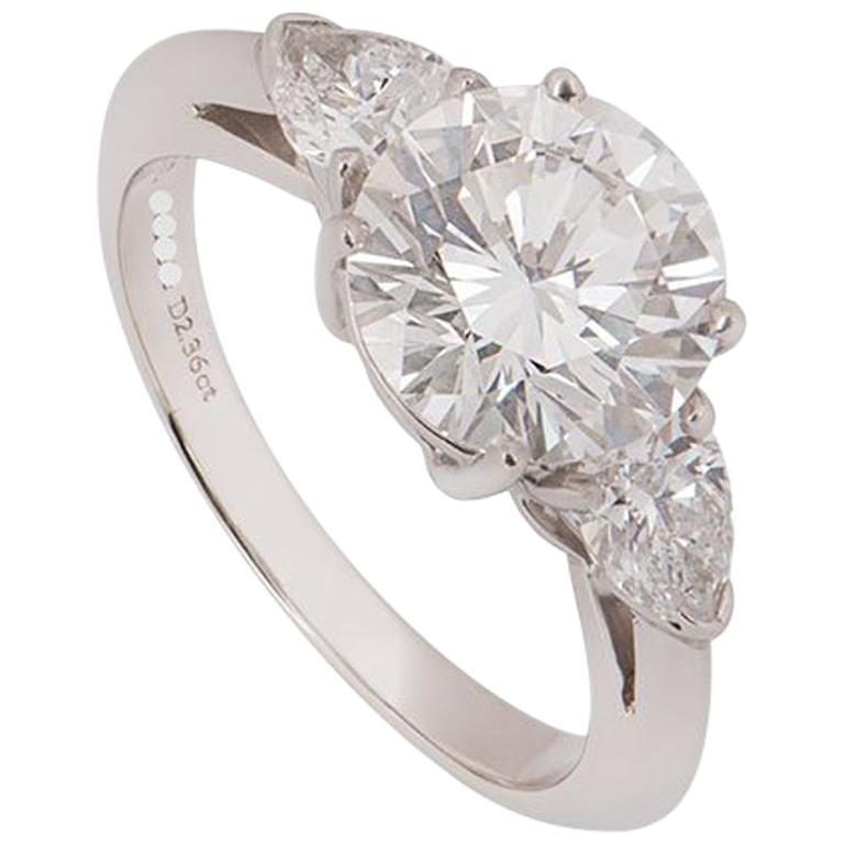 Tiffany & Co. Platinum Diamond Three-Stone Ring 2.36 Carat GIA Certified