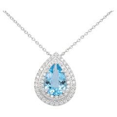 Tiffany & Co. Platinum Double Soleste Pear Shape Aquamarine and Diamond Pendant