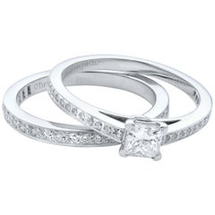 Tiffany & Co. Platinum Engagement Ring and Band Set Total 0.60 Carat