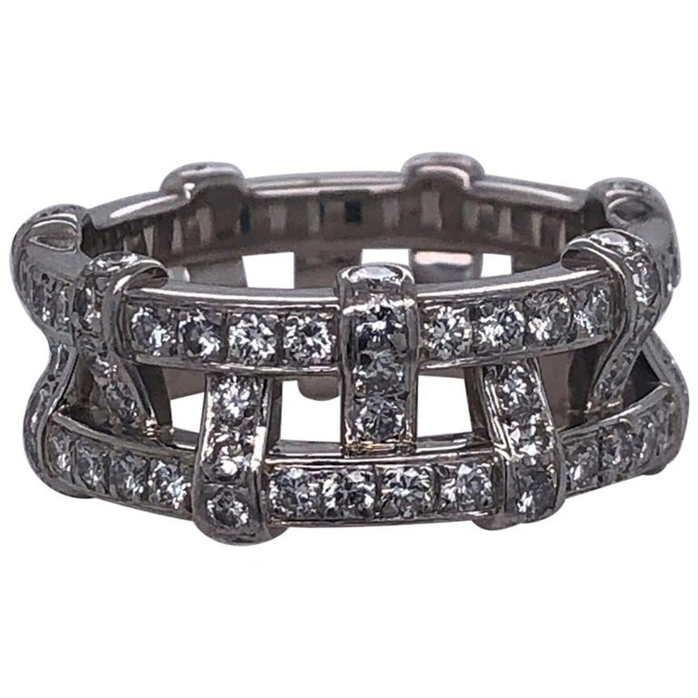 Tiffany & Company Platinum and Diamond Eternity Ring.  Iconic designer beautiful style.  2 Carats of Diamonds. Size 5.75.