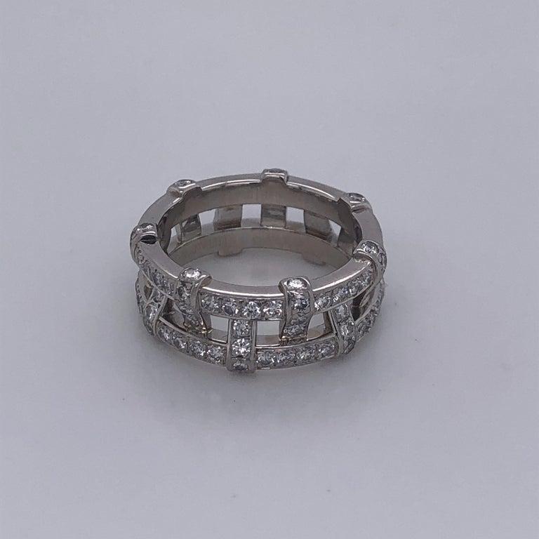 Round Cut Tiffany & Co. Platinum Eternity Diamond Ring For Sale