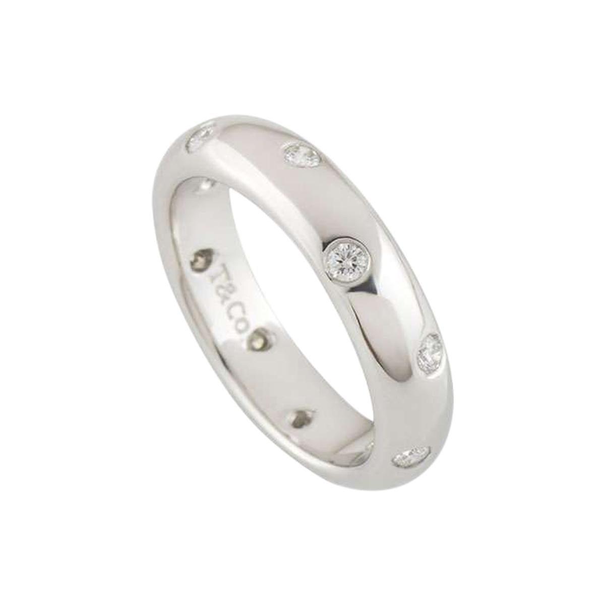 Tiffany & Co. Platinum Etoile Wedding Band Ring 0.22 Carat