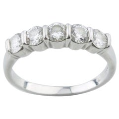 Tiffany & Co. Platinum Five-Diamond Band Ring with Box