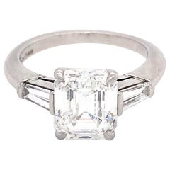 Tiffany & Co. Platinum GIA Certified 2.59 Carat Emerald Cut Diamond Ri
