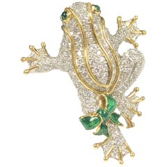 Tiffany & Co. Platinum Gold and Diamond Frog Brooch