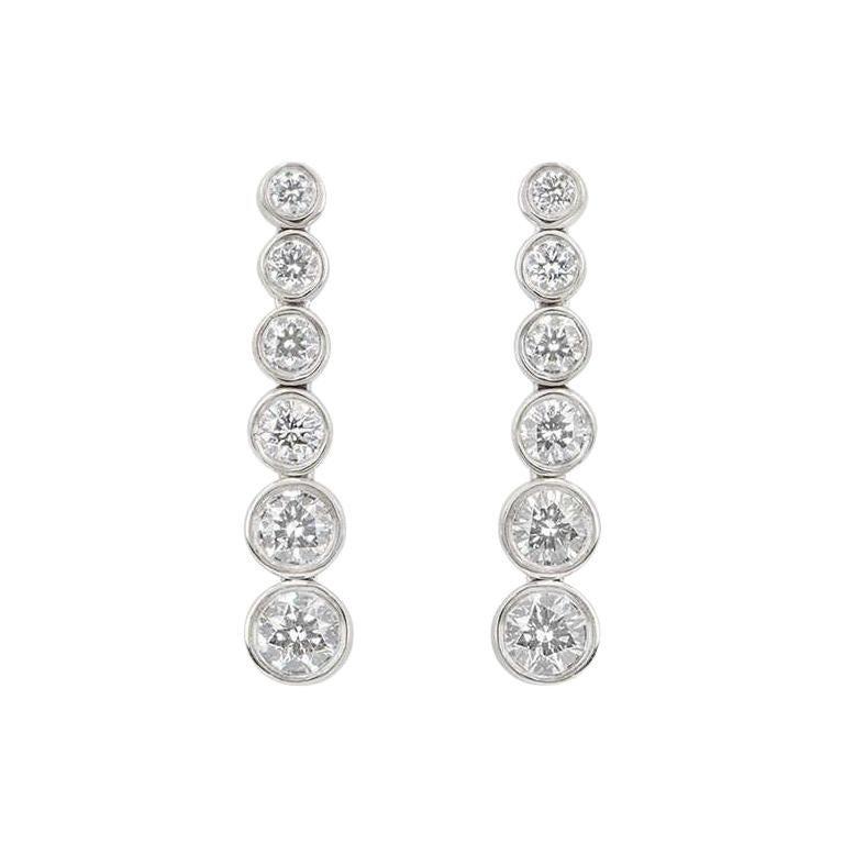 Tiffany & Co. Platinum Jazz Diamond Earrings 1.20 Carat For Sale