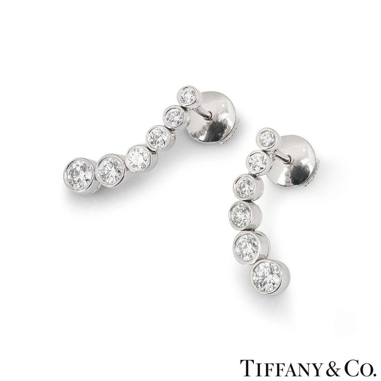 Round Cut Tiffany & Co. Platinum Jazz Diamond Earrings 1.20 Carat For Sale