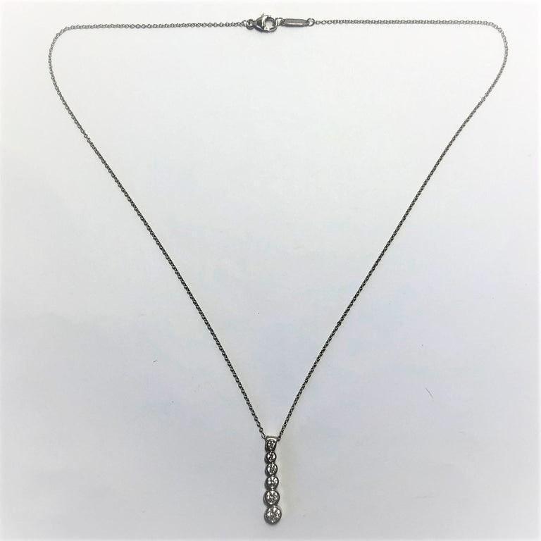 Women's or Men's Tiffany & Co. Platinum Jazz, Graduated Diamond Drop Pendant For Sale