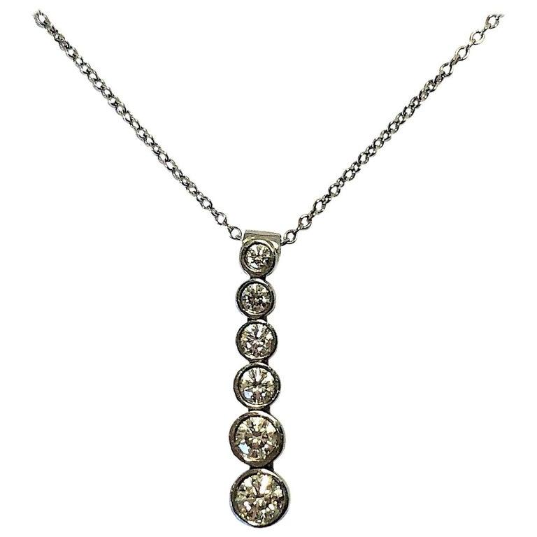 Tiffany & Co. Platinum Jazz, Graduated Diamond Drop Pendant For Sale