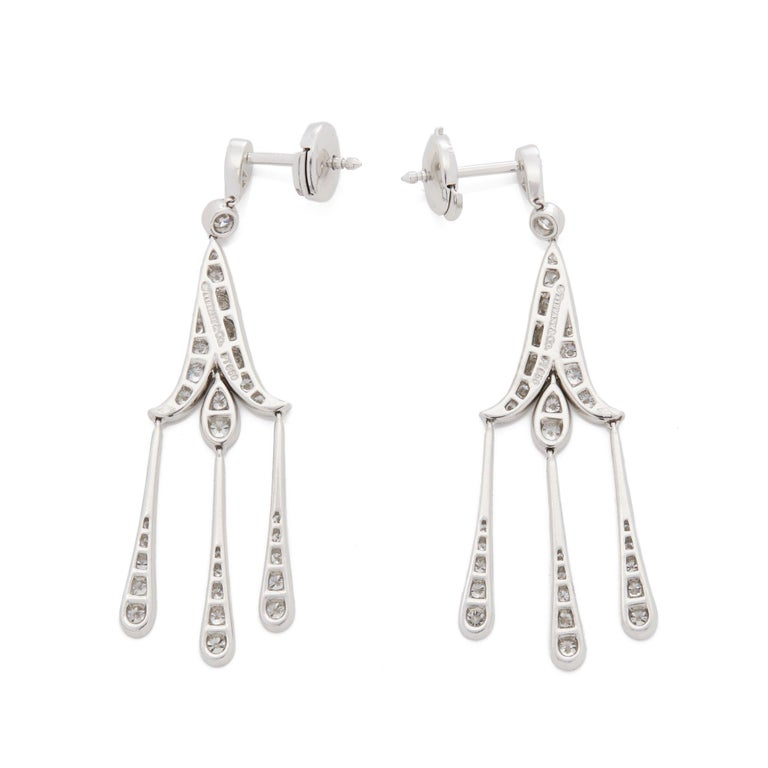 Women's Tiffany & Co. Platinum Legacy Diamond Chandelier Drop Earrings For Sale