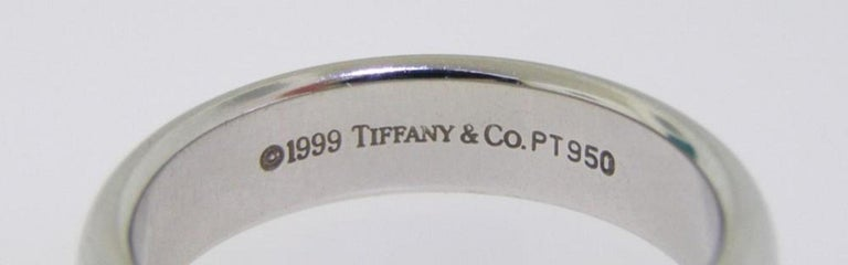 Women's or Men's Tiffany & Co. Platinum Lucida Wedding Band Ring For Sale