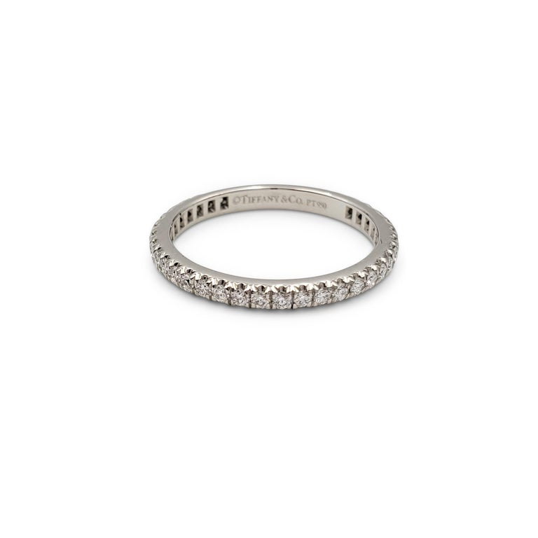 Tiffany & Co. Platinum Pavé Diamond Eternity Band In Excellent Condition In New York, NY