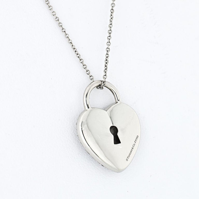 Modern Tiffany & Co. Platinum Pave Diamond Heart Pendant For Sale