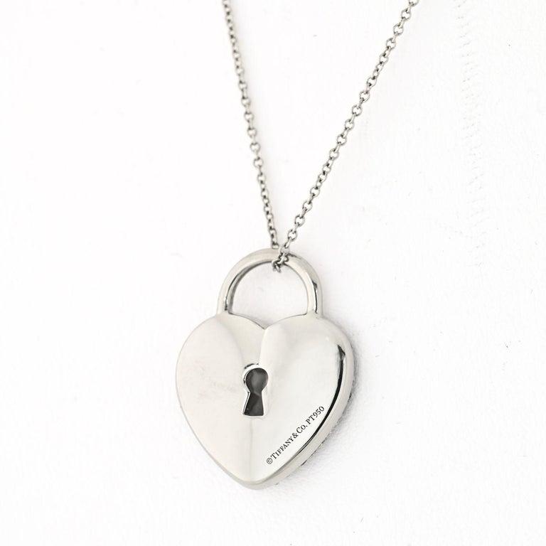 Round Cut Tiffany & Co. Platinum Pave Diamond Heart Pendant For Sale