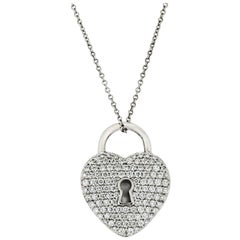 Tiffany & Co. Platinum Pave Diamond Heart Pendant