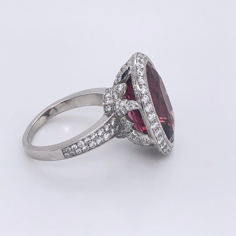 Oval Cut Tiffany & Co. Platinum Pink Tourmaline Diamond Ring For Sale