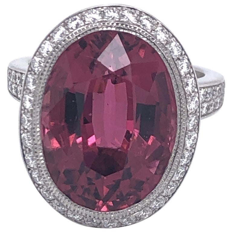 Tiffany & Co. Platinum Pink Tourmaline Diamond Ring For Sale