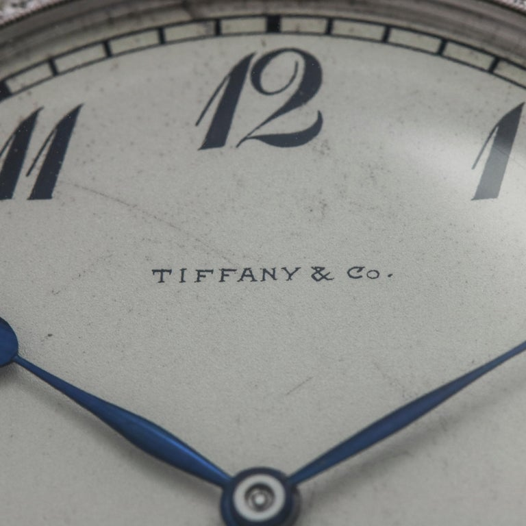 Art Deco Tiffany & Co. Platinum Pocket Watch with Diamond Bezel Powered by Patek Philippe For Sale