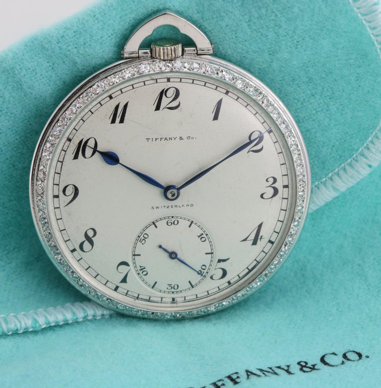 Round Cut Tiffany & Co. Platinum Pocket Watch with Diamond Bezel Powered by Patek Philippe For Sale