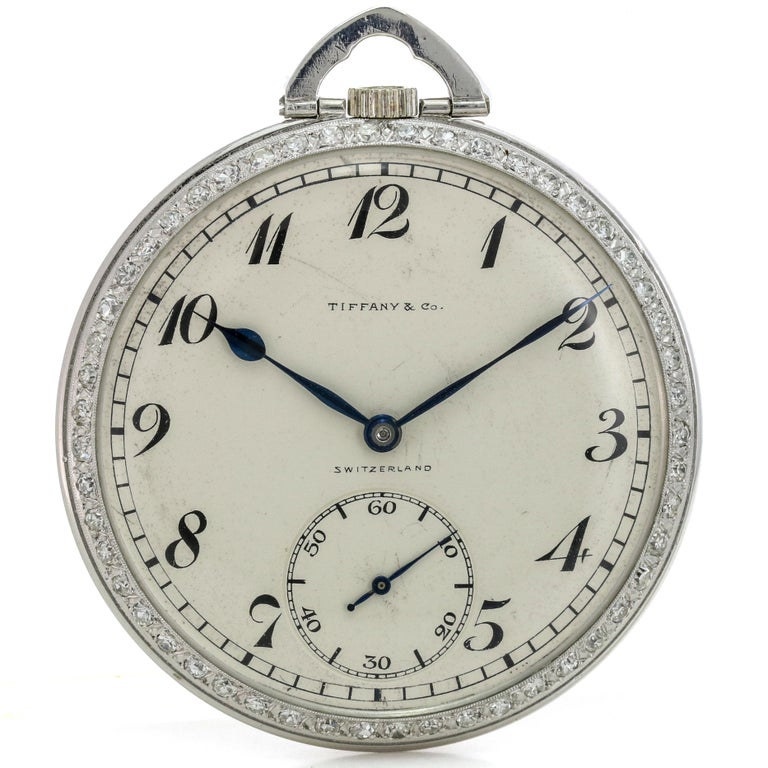 Tiffany & Co. Platinum Pocket Watch with Diamond Bezel Powered by Patek Philippe For Sale