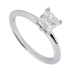 Tiffany & Co. Platinum Princess Cut Diamond Solitaire Ring 0.91ct G/VVS1 XXX