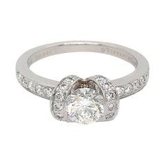 Tiffany & Co. Platinum Ribbon Diamond Engagement Ring and Matching Wedding Ban
