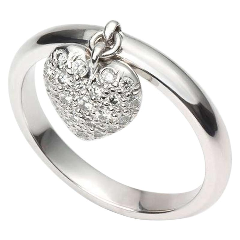 Tiffany & Co. Platinum Ring with Heart-Shaped Pendant with Diamonds