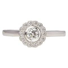 Tiffany & Co. Platinum Round Cut Diamond Flower Enchant Ring