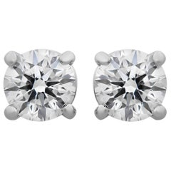 Tiffany & Co. Platinum Round Diamond Solitaire Stud Earrings 1.00 Carat