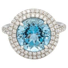 Tiffany & Co. Platinum Soleste 5 Ct Center Aquamarine and Diamond Ring