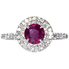 Tiffany & Co. Platinum Soleste Diamond and Ruby Ring