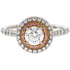 Tiffany & Co. Platinum Soleste Halo Diamond Engagement Ladies Ring