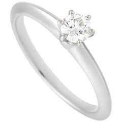 Tiffany & Co. Platinum Solitaire 0.27 Carat Diamond Engagement Ring