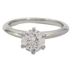 Tiffany & Co. Platinum Solitaire 0.96 Carat Diamond Engagement Ring