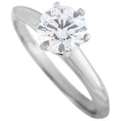 Tiffany & Co. Platinum Solitaire 1.07 Carat Round Diamond Engagement Ring