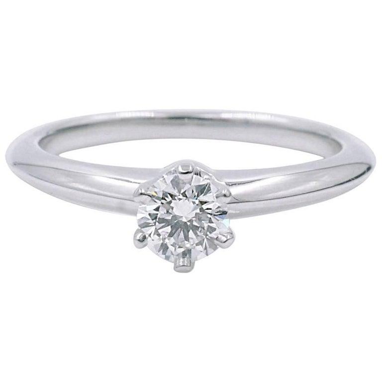 c08f425348b Tiffany   Co. Platinum Solitaire Diamond 0.23 Carat F-Color VVS1-Clarity  Ring